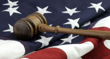 Judges gavel and American Flag