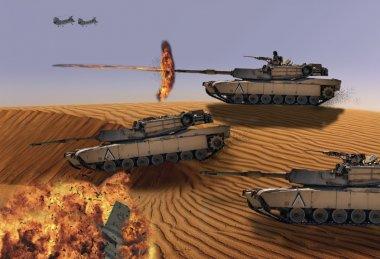 Tank fires a main gun round in the desert. stock vector