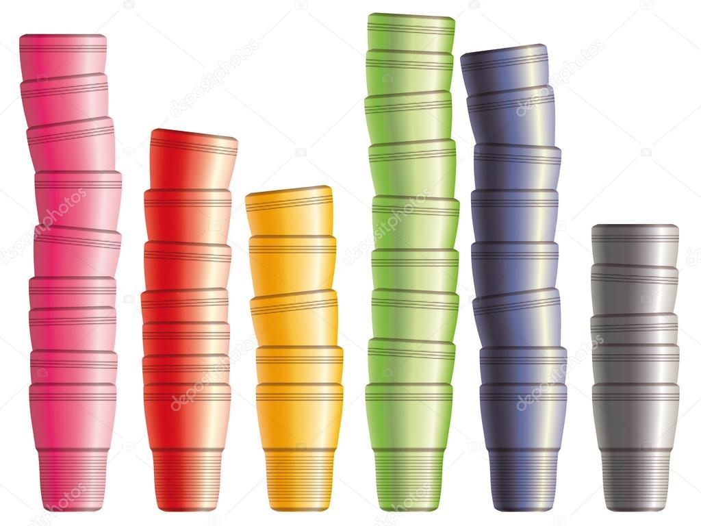 Juego De Vasos De Plastico Desechables Eps10 Archivo Imagenes