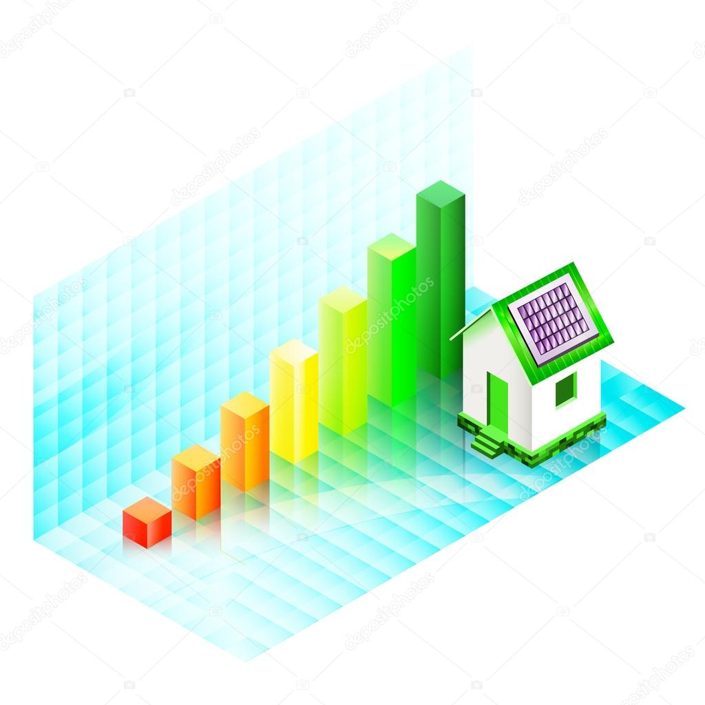 Energy efficiency rating of a house with photovoltaic panels — Stock ...