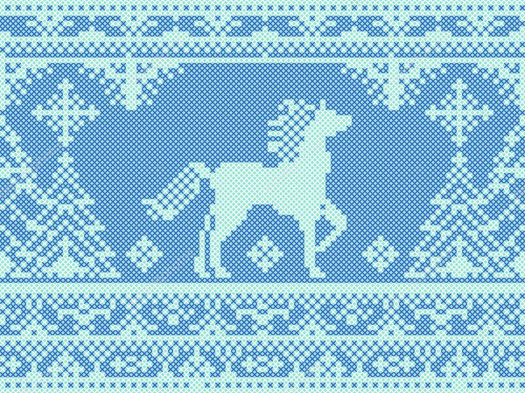 nahtlose Stickerei blau Weihnachten Muster mit Pferd und Pinien ...