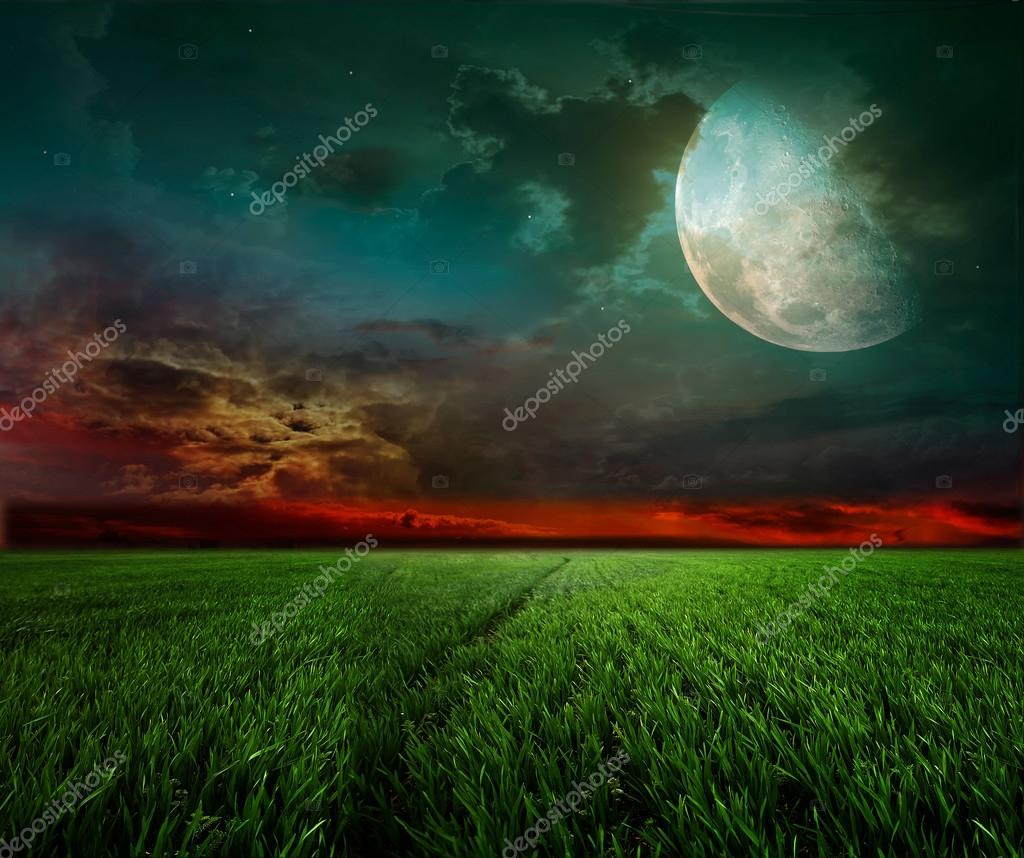 Rural night with moon