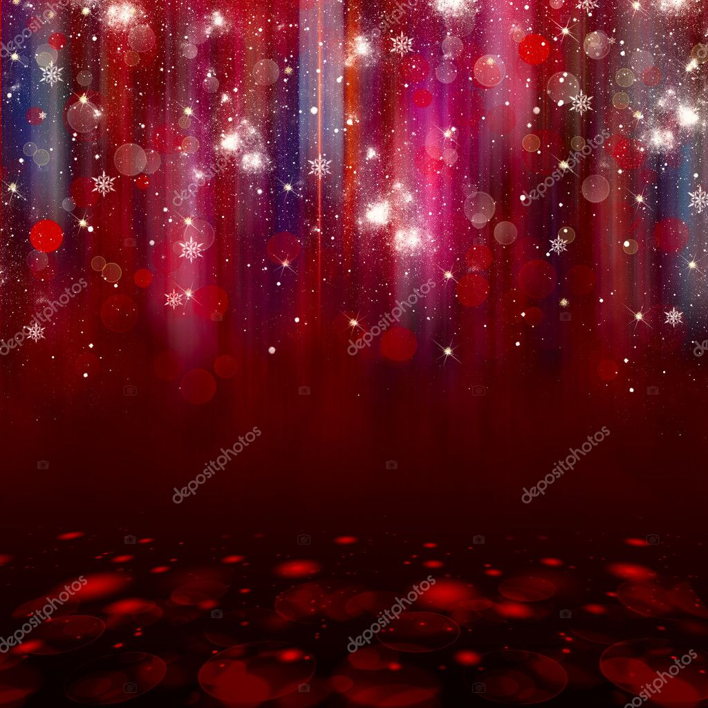 Colorful lights on red background.