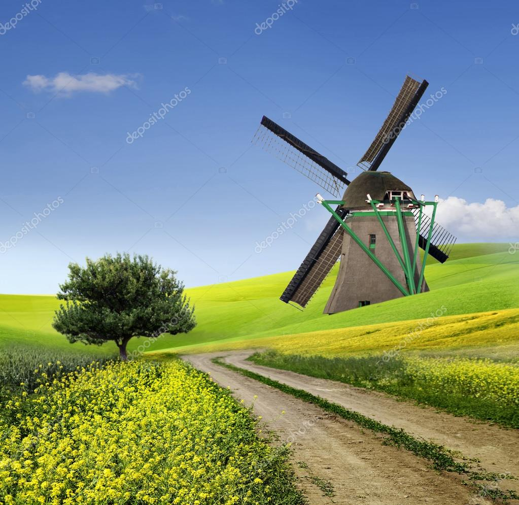 Traditional windmill in the countryside