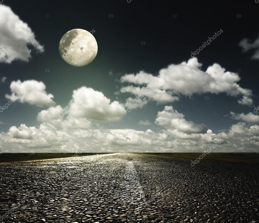 asphalt road and the moon