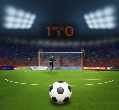 football stadium before the match. Penalti-goal