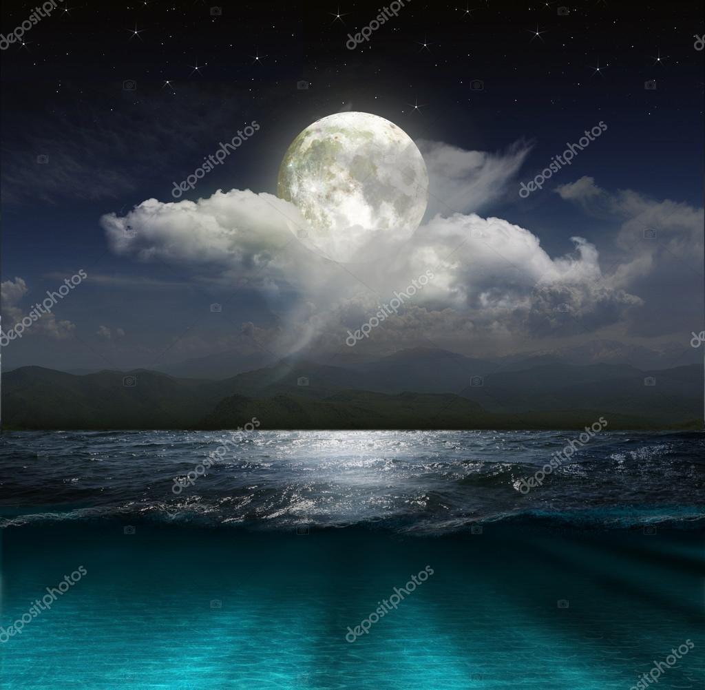 Fantasy landscape - moon, lake and fishing boat