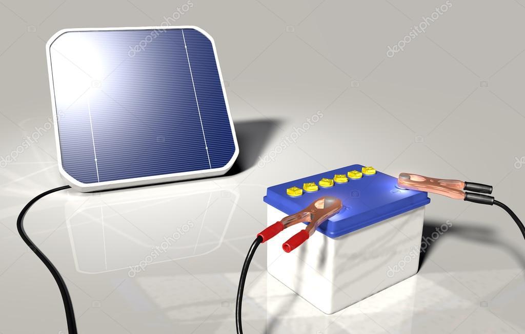 Pannello solare carica una batteria auto foto stock for Immagini pannello solare
