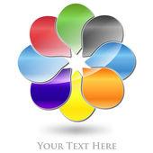 Logo společnosti různobarevných květin #Vector