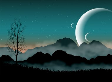 SF space night sky with silhouette mountains and close planets clip art vector