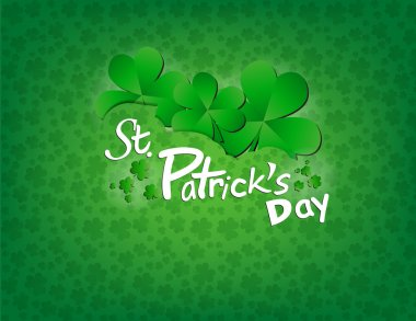 Illustration with clovers on a green background clip art vector
