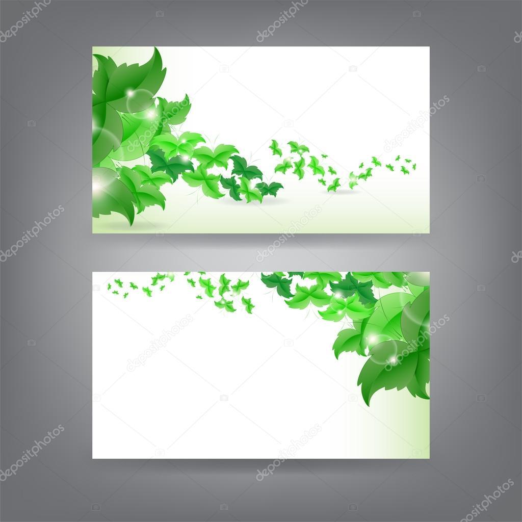 Modele De Carte Visite Theme Environnement Avec Rallonge Papillon Vert Vecteur Par
