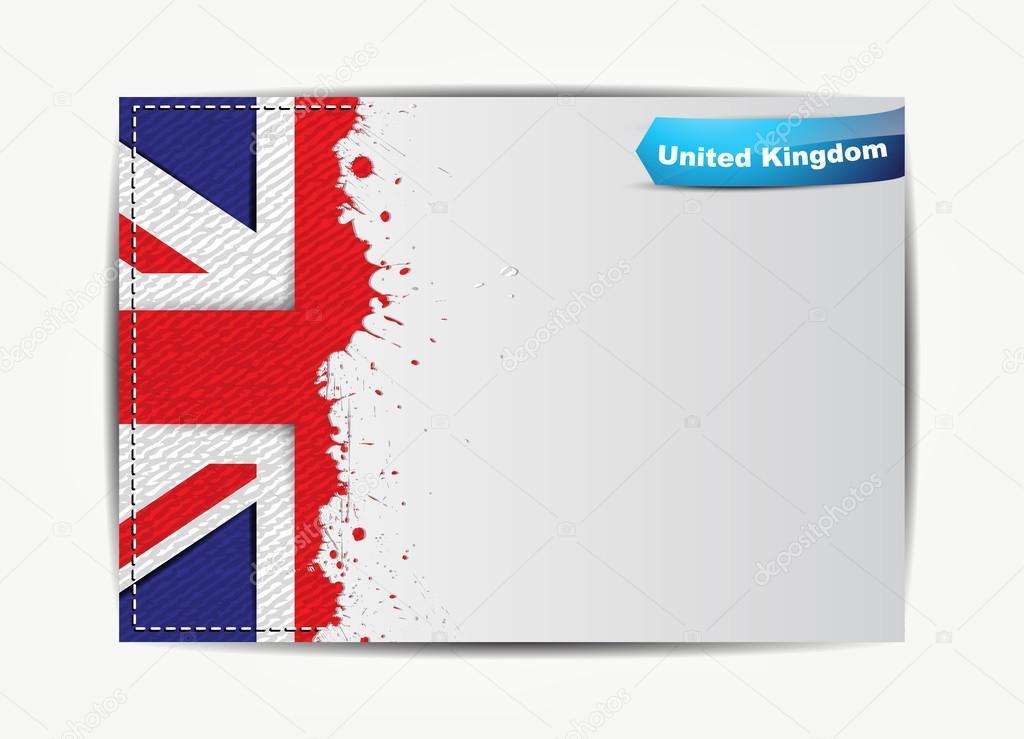 Bandera de Reino Unido cosido con marco de papel de grunge — Vector ...