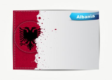 Stitched Albania flag with grunge paper frame for your text.