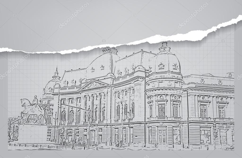 Architektura Skica Kresba Budovy Stock Vektor C Maxmitzu 49052899
