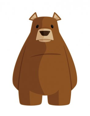 Brown Grizzly Bear Cartoon Animal Vector Graphic Illustration