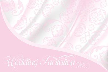 Wedding invitation on light pink lace and silk