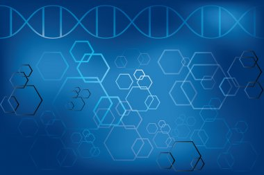 DNA strand and abstract atoms on light blue background