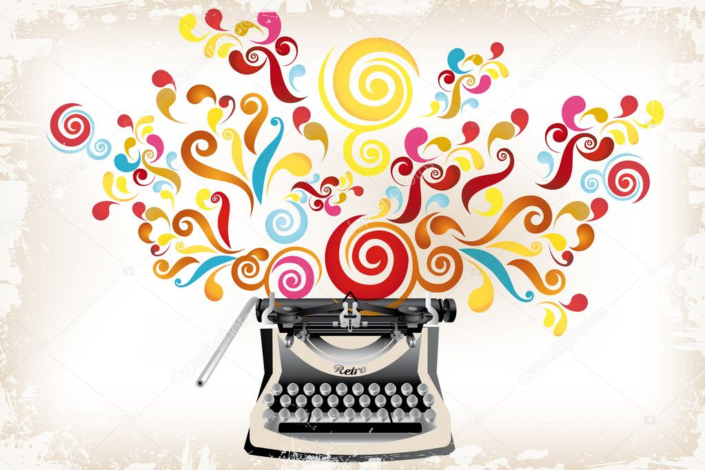 Creativity - typewriter with abstract swirls
