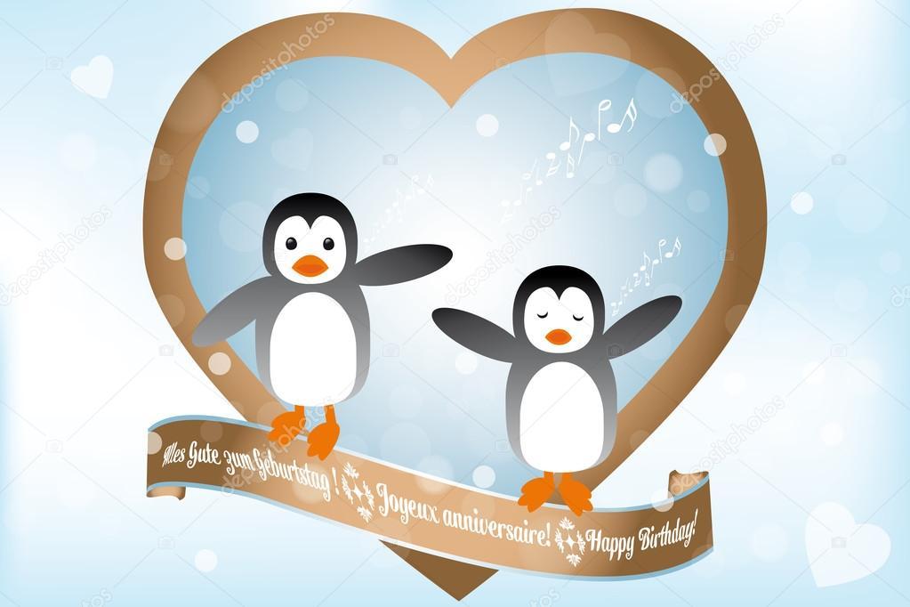 blahopřání k narozeninám v němčině přání k narozeninám s penguins zpěvu — Stock Vektor © vivelafrance  blahopřání k narozeninám v němčině