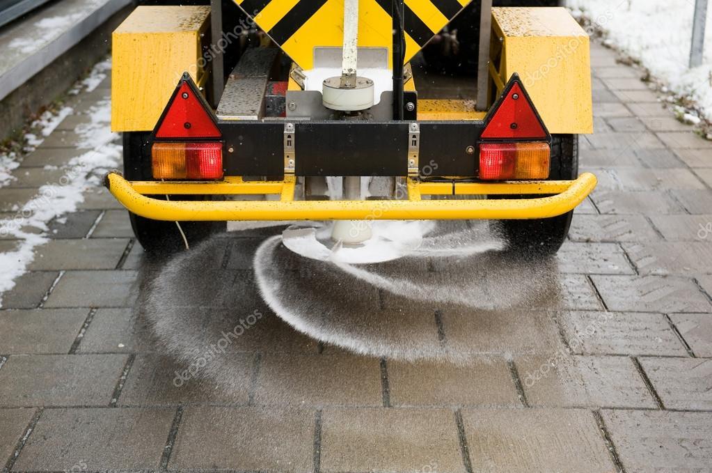 Salt on sidewalk