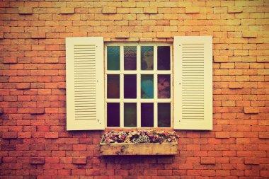 Window with flower pots.