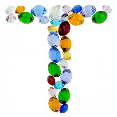 Letter T of gems