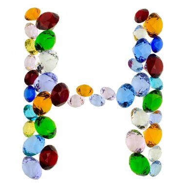 Letter H of gems
