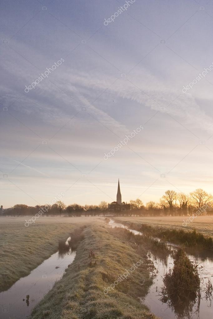 Salisbury cathedral across  meadows