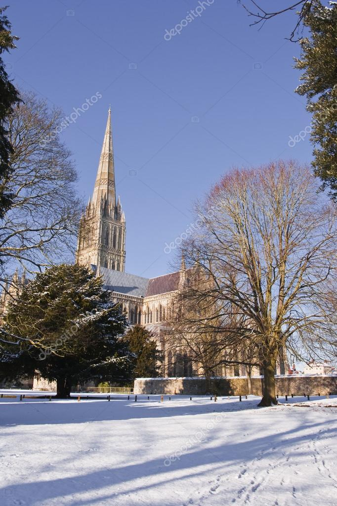 Salisbury cathedral after snow fall
