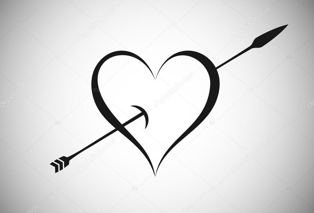 how to draw an arrow through a human heart