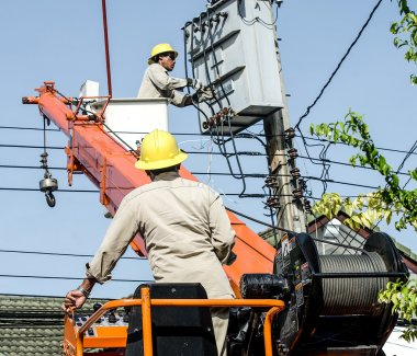 Minburi, Thailand- Nov 9:Electrician are installing high powered
