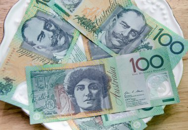 Colorful of Australian Currency on white plate on wood table