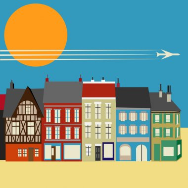 High Street Shops. simplistic Vector Background image with colo