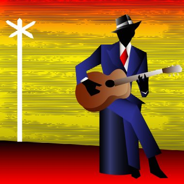 Blues Guitarist at the Crossroads, Vector Background for a Conce