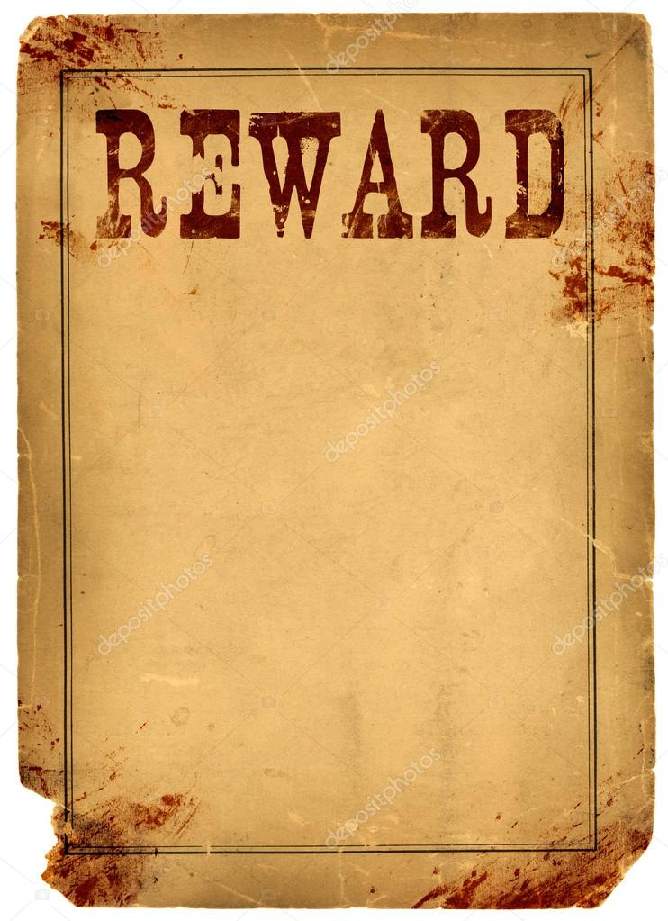 blood stained reward poster 1800s wild west � stock photo