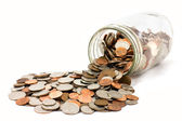 Rozlité sklenici mincí
