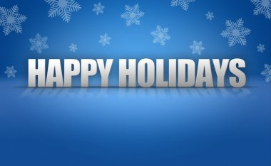 Happy Holidays Text Logo on Snowflake Background