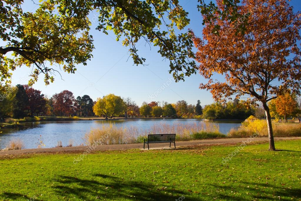 Park Bench by the Lake in Fall