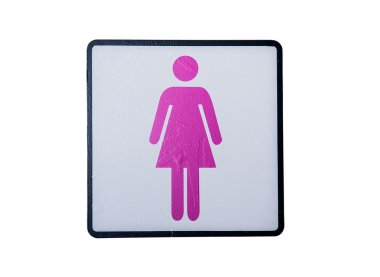 Women's room sign.