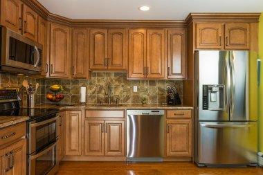 Kitchen mocha wood cabinet