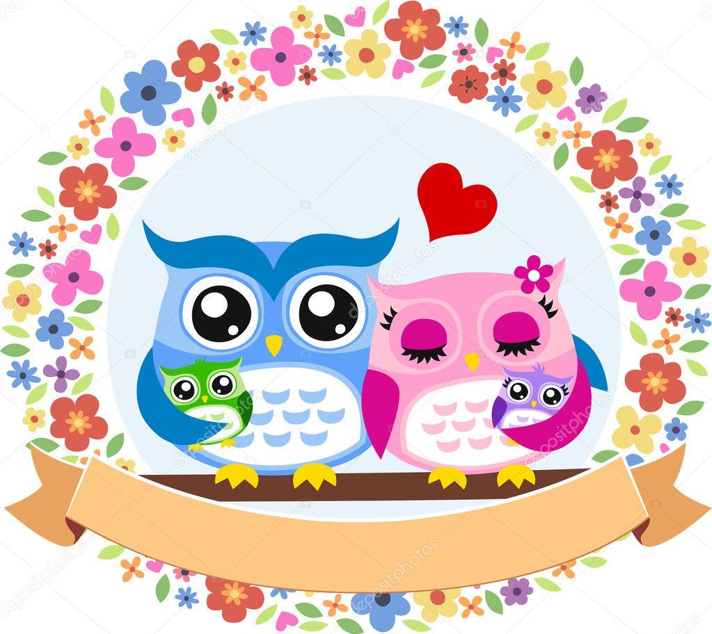 Happy owl bird family floral emblem