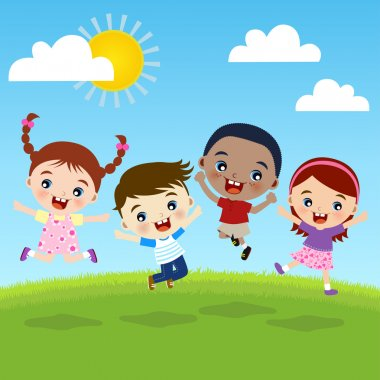 Multicultural Children Jumping On Hill clip art vector