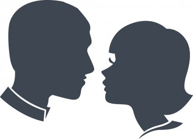 Man and woman face silhouette