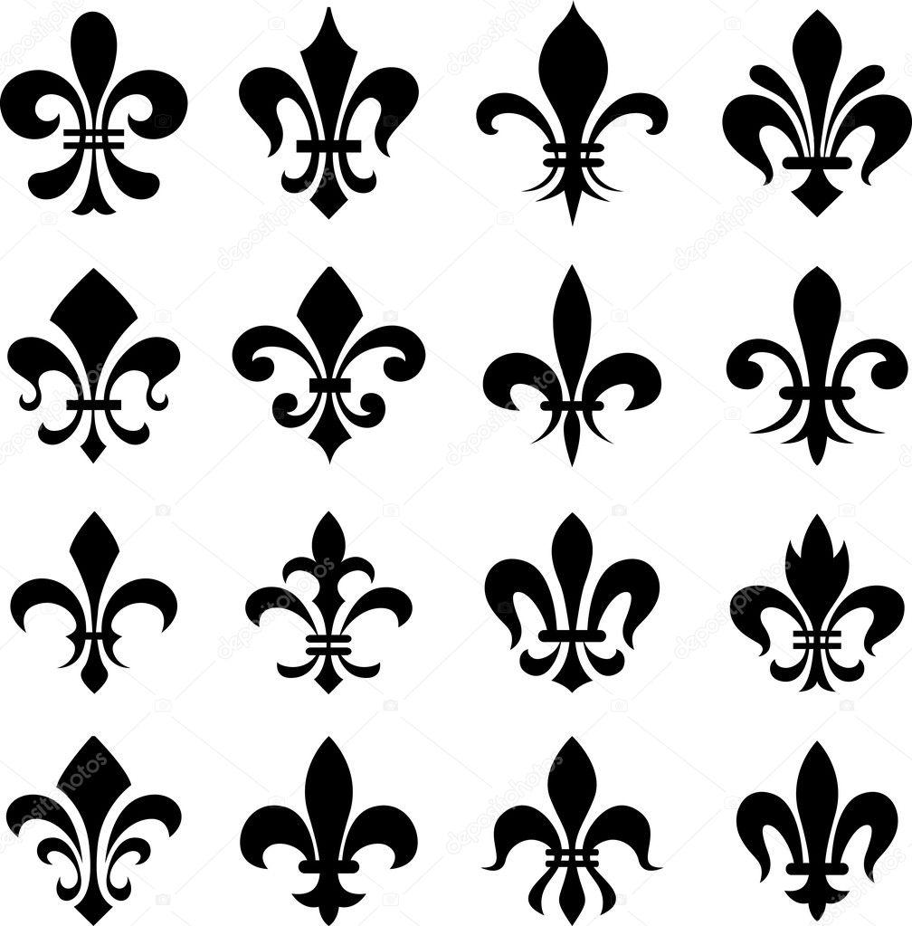 Jeu de symboles classiques de fleur de lys \u2014 Image vectorielle 15643291