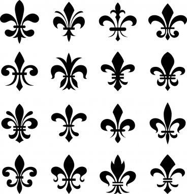 Classic fleur de lys symbol set clip art vector