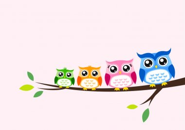 Owl family greeting