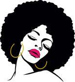 Fotografie Afro vlasy hippie žena pop art
