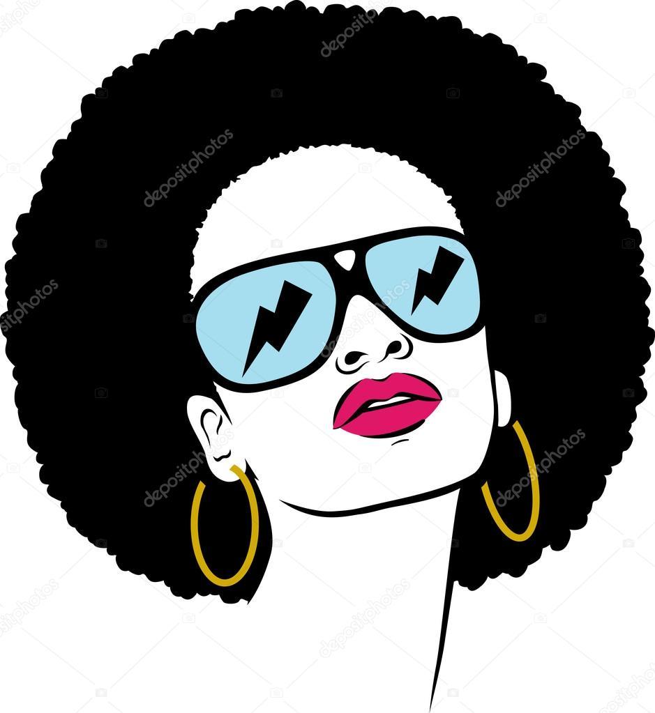 Afro hair hippie woman pop art