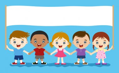 Cute multicultural children hand in hand stock vector